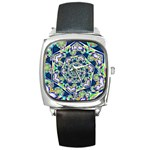 Power Spiral Polygon Blue Green White Square Metal Watch Front