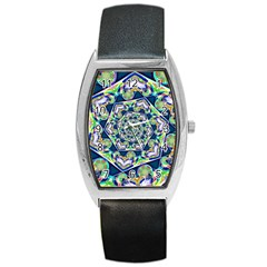Power Spiral Polygon Blue Green White Barrel Style Metal Watch