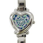 Power Spiral Polygon Blue Green White Heart Italian Charm Watch Front