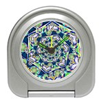 Power Spiral Polygon Blue Green White Travel Alarm Clocks Front