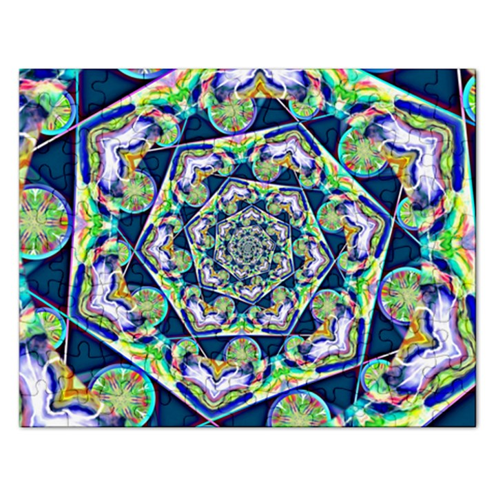 Power Spiral Polygon Blue Green White Rectangular Jigsaw Puzzl