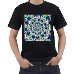 Power Spiral Polygon Blue Green White Men s T-Shirt (Black) (Two Sided)