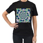 Power Spiral Polygon Blue Green White Women s T-Shirt (Black) (Two Sided) Front