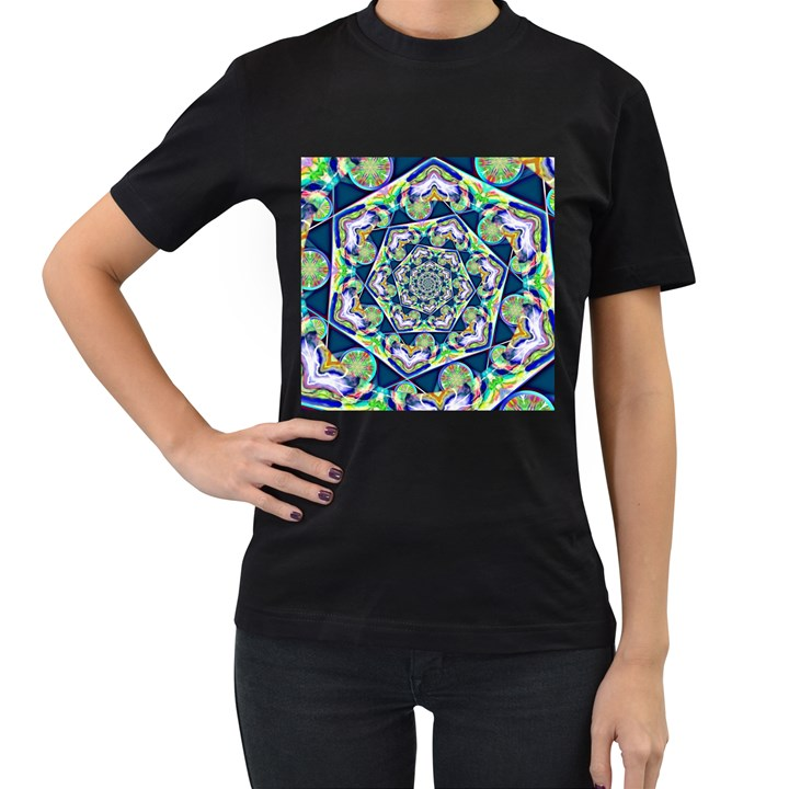 Power Spiral Polygon Blue Green White Women s T-Shirt (Black) (Two Sided)