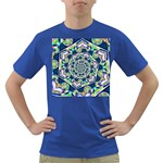 Power Spiral Polygon Blue Green White Dark T-Shirt Front
