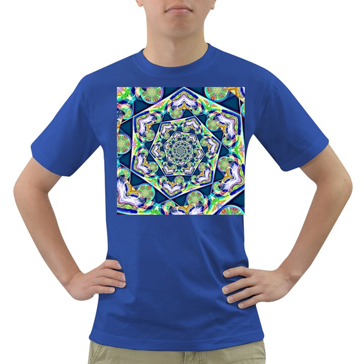 Power Spiral Polygon Blue Green White Dark T-Shirt