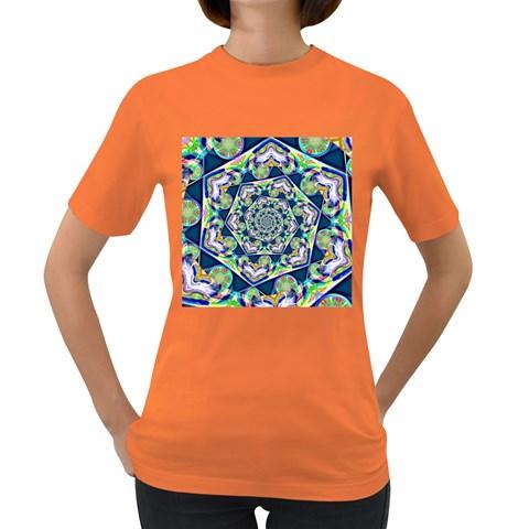Power Spiral Polygon Blue Green White Women s Dark T-Shirt