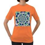 Power Spiral Polygon Blue Green White Women s Dark T-Shirt Front