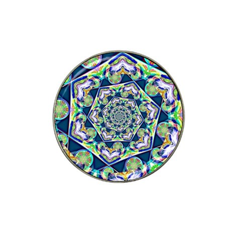 Power Spiral Polygon Blue Green White Hat Clip Ball Marker (4 pack)