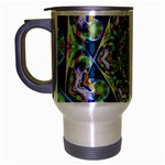 Power Spiral Polygon Blue Green White Travel Mug (Silver Gray) Left