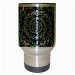 Power Spiral Polygon Blue Green White Travel Mug (Silver Gray) Center
