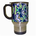 Power Spiral Polygon Blue Green White Travel Mugs (White) Left