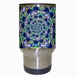 Power Spiral Polygon Blue Green White Travel Mugs (White) Center