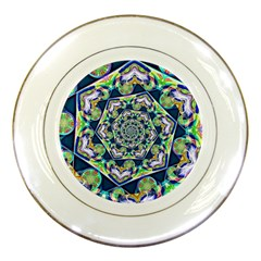 Power Spiral Polygon Blue Green White Porcelain Plates