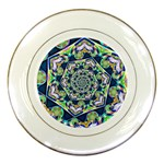 Power Spiral Polygon Blue Green White Porcelain Plates Front