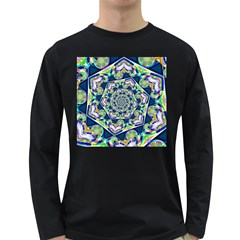 Power Spiral Polygon Blue Green White Long Sleeve Dark T-Shirts