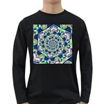 Power Spiral Polygon Blue Green White Long Sleeve Dark T-Shirts Front