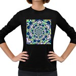 Power Spiral Polygon Blue Green White Women s Long Sleeve Dark T-Shirts Front