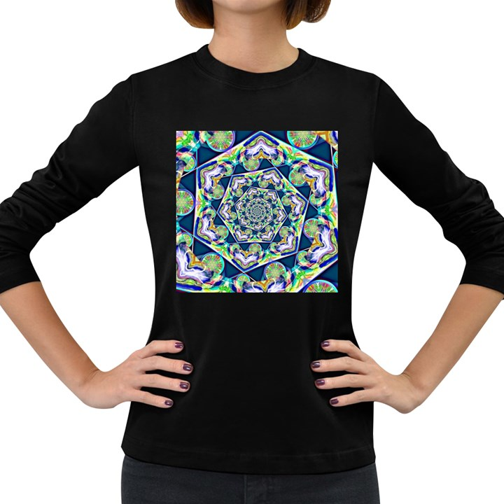 Power Spiral Polygon Blue Green White Women s Long Sleeve Dark T-Shirts