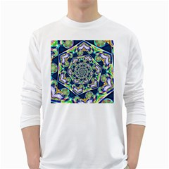 Power Spiral Polygon Blue Green White White Long Sleeve T-Shirts