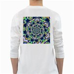 Power Spiral Polygon Blue Green White White Long Sleeve T-Shirts Back