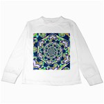 Power Spiral Polygon Blue Green White Kids Long Sleeve T-Shirts Front