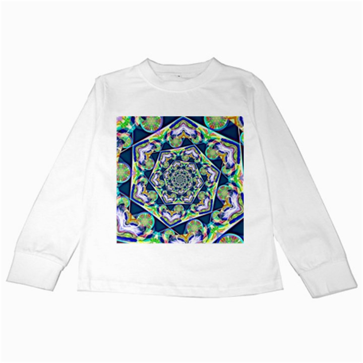 Power Spiral Polygon Blue Green White Kids Long Sleeve T-Shirts