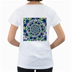 Power Spiral Polygon Blue Green White Women s Loose-Fit T-Shirt (White) Back