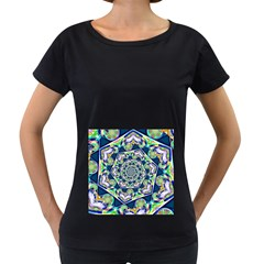 Power Spiral Polygon Blue Green White Women s Loose Fit T Shirt (black)