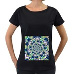 Power Spiral Polygon Blue Green White Women s Loose-Fit T-Shirt (Black) Front