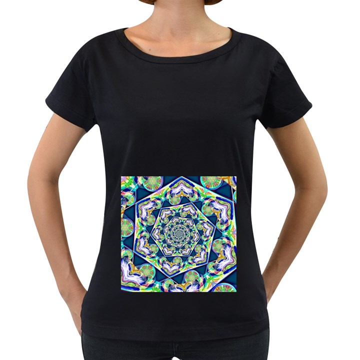 Power Spiral Polygon Blue Green White Women s Loose-Fit T-Shirt (Black)