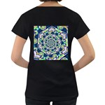Power Spiral Polygon Blue Green White Women s Loose-Fit T-Shirt (Black) Back