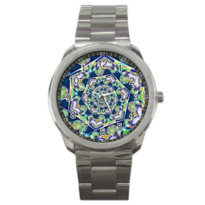 Power Spiral Polygon Blue Green White Sport Metal Watch
