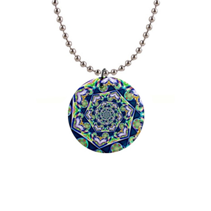 Power Spiral Polygon Blue Green White Button Necklaces