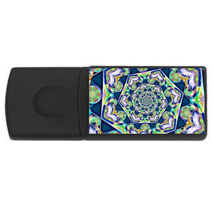 Power Spiral Polygon Blue Green White USB Flash Drive Rectangular (4 GB)
