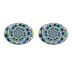 Power Spiral Polygon Blue Green White Cufflinks (Oval)