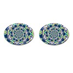 Power Spiral Polygon Blue Green White Cufflinks (Oval) Front