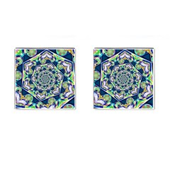 Power Spiral Polygon Blue Green White Cufflinks (Square)