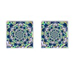 Power Spiral Polygon Blue Green White Cufflinks (Square) Front