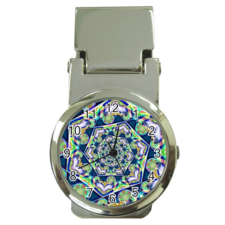 Power Spiral Polygon Blue Green White Money Clip Watches