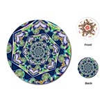 Power Spiral Polygon Blue Green White Playing Cards (Round)  Front
