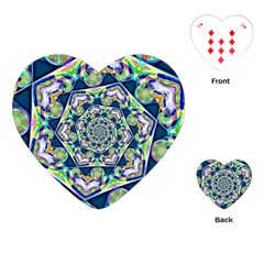 Power Spiral Polygon Blue Green White Playing Cards (Heart)
