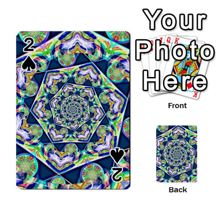 Power Spiral Polygon Blue Green White Playing Cards 54 Designs
