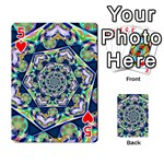 Power Spiral Polygon Blue Green White Playing Cards 54 Designs  Front - Heart5