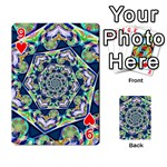Power Spiral Polygon Blue Green White Playing Cards 54 Designs  Front - Heart9