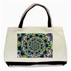 Power Spiral Polygon Blue Green White Basic Tote Bag