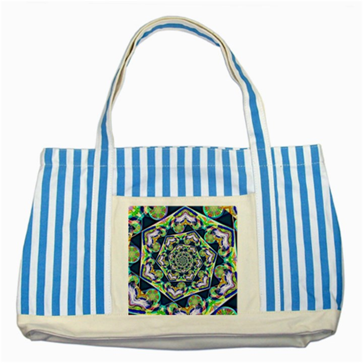 Power Spiral Polygon Blue Green White Striped Blue Tote Bag