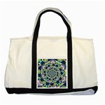 Power Spiral Polygon Blue Green White Two Tone Tote Bag Front