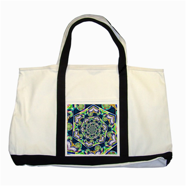 Power Spiral Polygon Blue Green White Two Tone Tote Bag