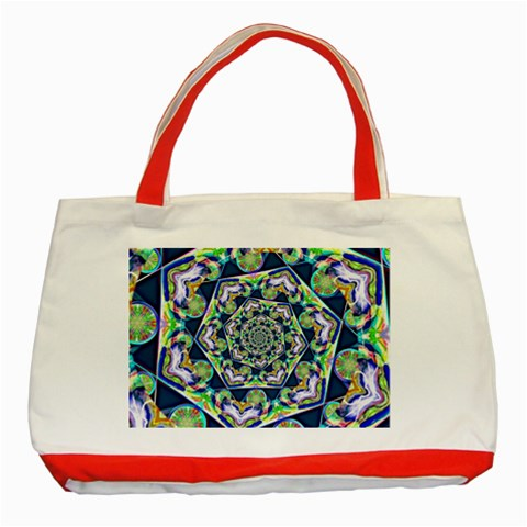 Power Spiral Polygon Blue Green White Classic Tote Bag (Red)